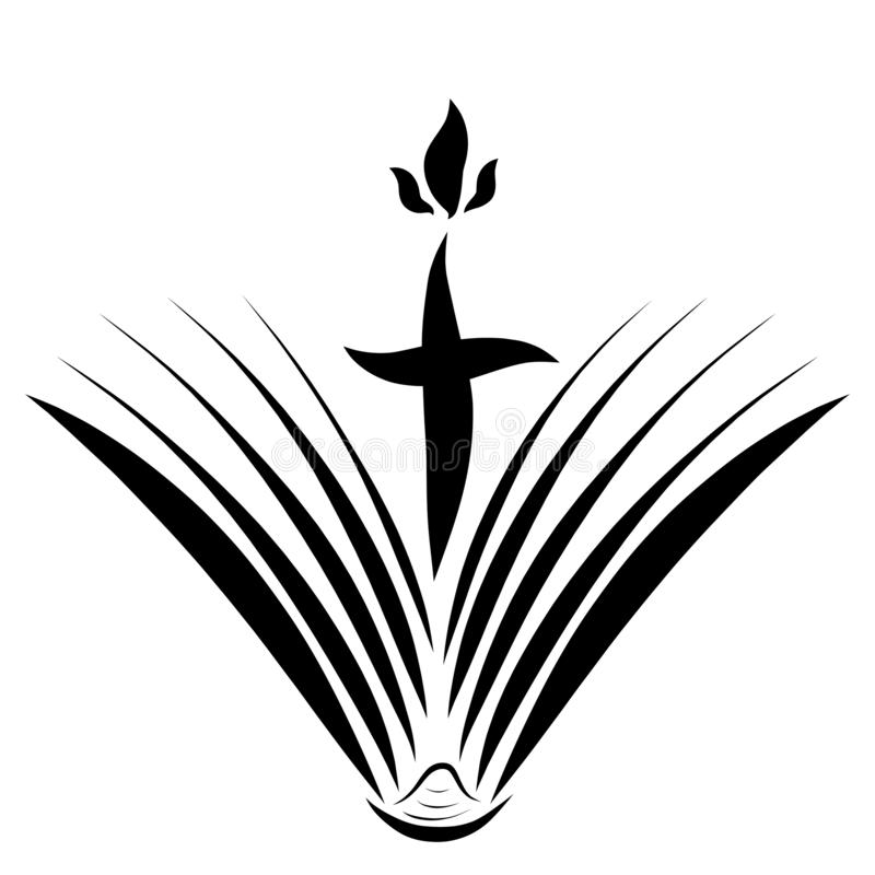 Libro y cruz de apertura con la llama, simbolismo libre illustration