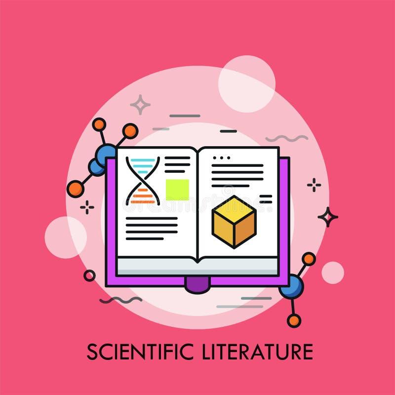 Libro y estructuras moleculares abiertos libre illustration