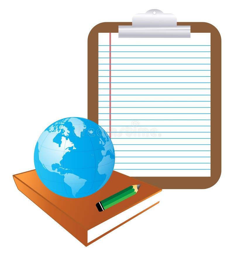 Libro y globo stock de ilustración