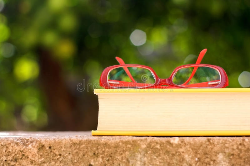 Libro y lentes imagen de archivo libre de regalías