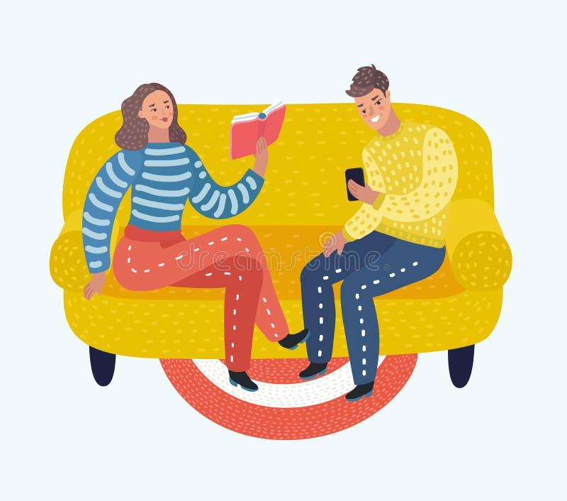 Libro y mirada de lectura joven de los pares en el teléfono en el sofá stock de ilustración