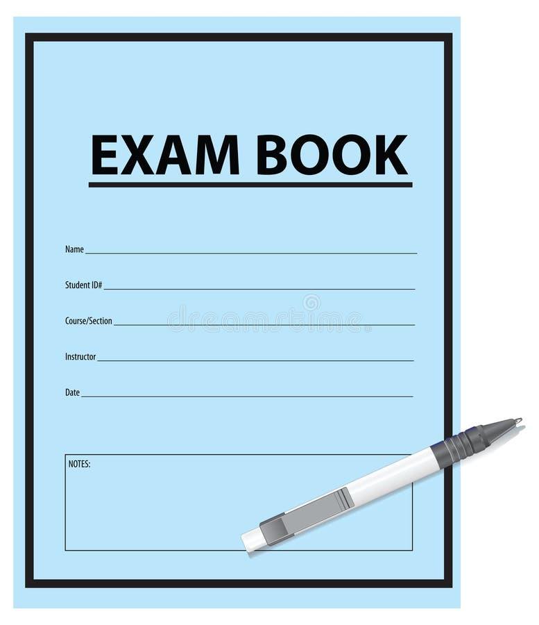Libro y pluma del examen stock de ilustración