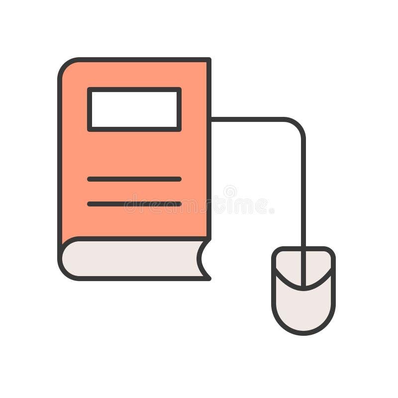 Libro y ratón, outli editable de E del movimiento del concepto en línea de la educación stock de ilustración