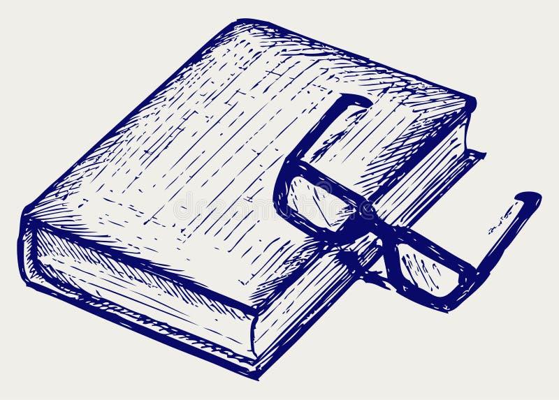Libro y vidrios stock de ilustración