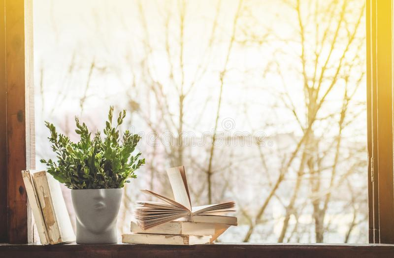 Libros abiertos en alféizar del vintage con un florero hermoso Fondo de los libros imagen de archivo libre de regalías