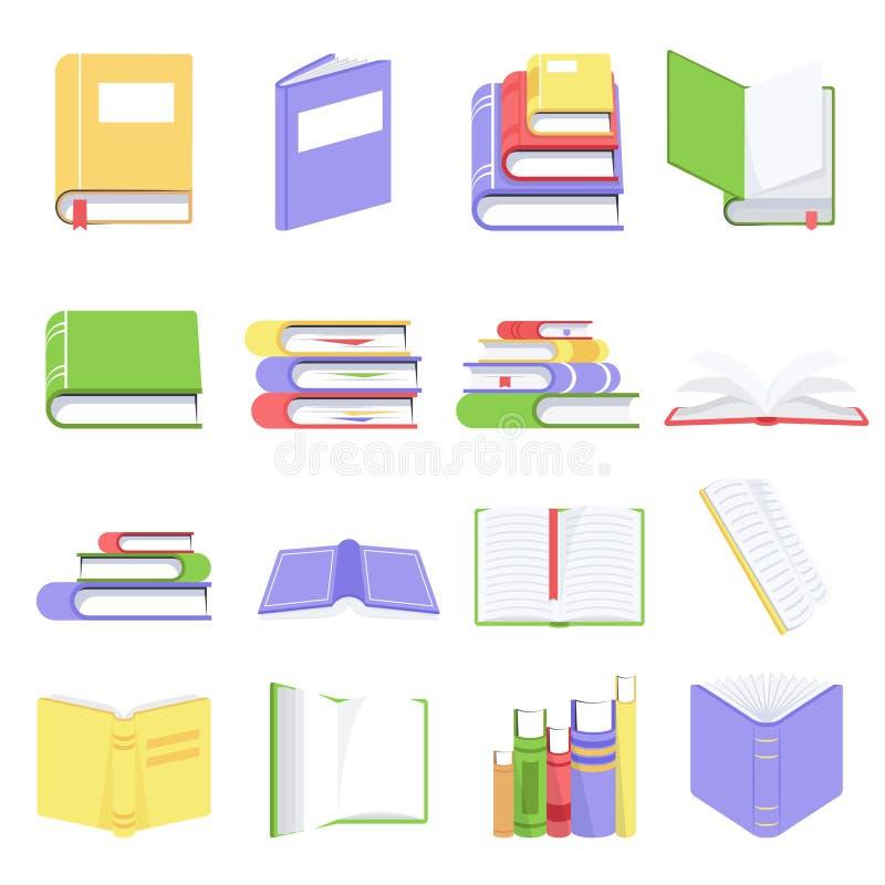 Libros abiertos y cerrados con las páginas en blanco Colección de libros y de documentos de la lectura Libros de texto en cubiert stock de ilustración
