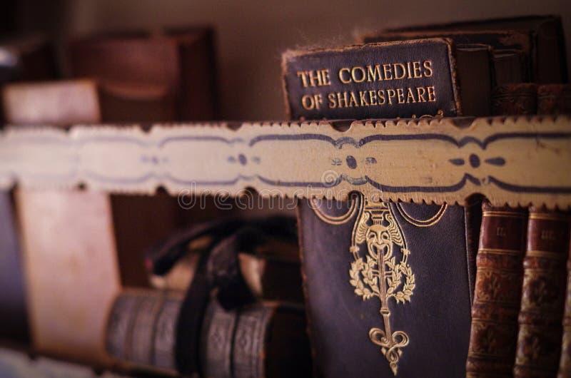 Libros antiguos en estante imagen de archivo libre de regalías
