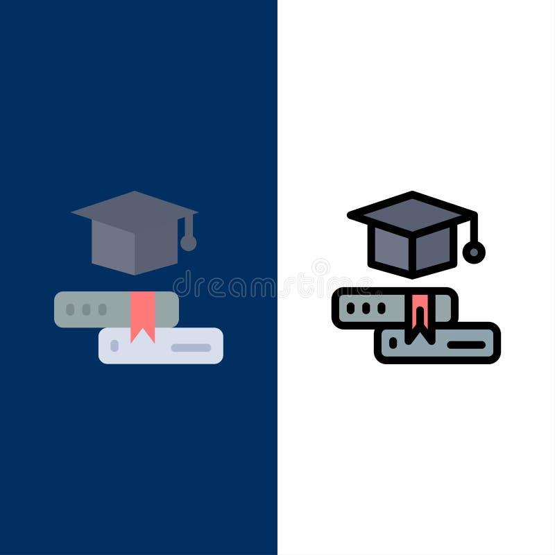 Libros, casquillo, educación, iconos de la graduación El plano y la línea icono llenado fijaron el fondo azul del vector libre illustration