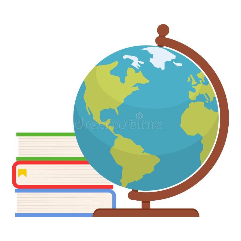 Libros coloridos e icono plano del globo en blanco libre illustration