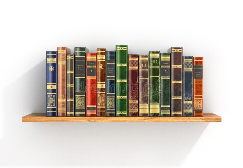 Libros coloridos en el estante de madera foto de archivo libre de regalías