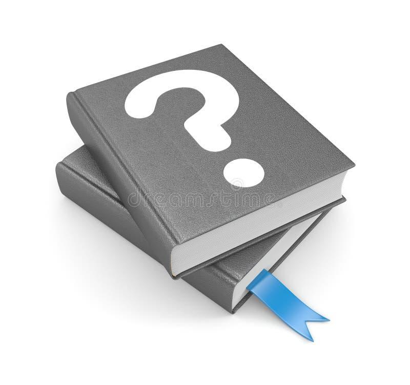 Libros con la pregunta y la señal stock de ilustración