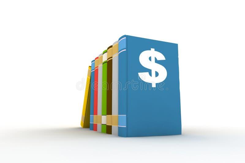 Libros con símbolo del dólar ilustración del vector