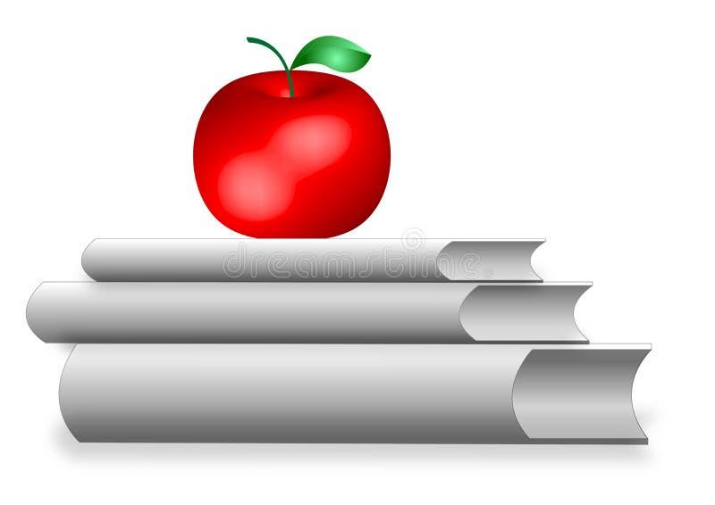 Libros con una manzana ilustración del vector