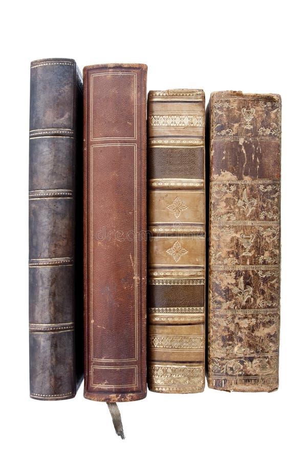 Libros de cuero viejos imagen de archivo