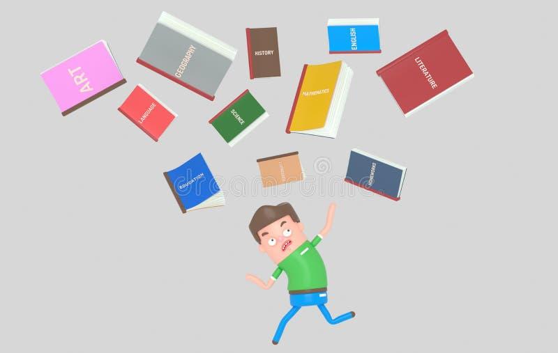 Libros de escuela que caen abajo en estudiante asustado ilustración del vector