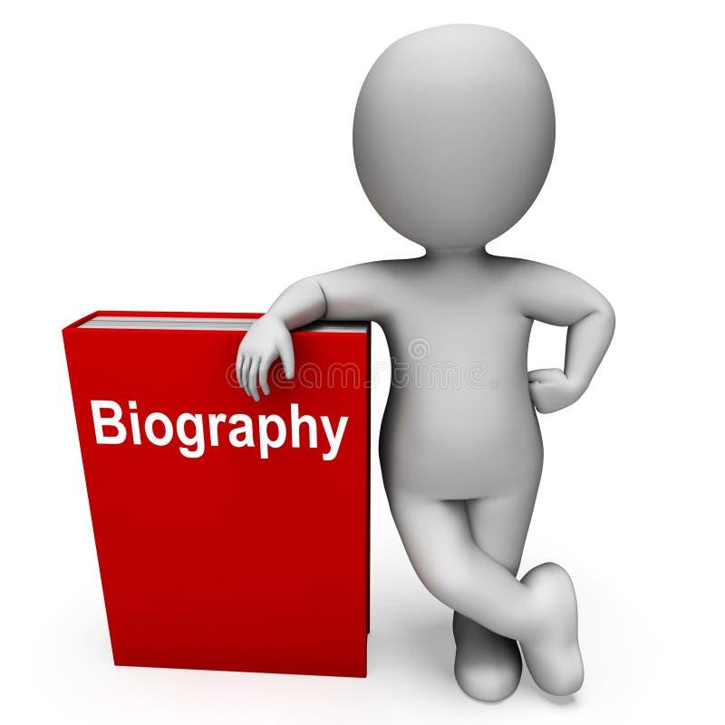 Libros de la demostración del libro y del carácter de la biografía alrededor de una vida stock de ilustración
