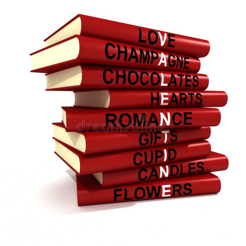Libros de la tarjeta del día de San Valentín ilustración del vector