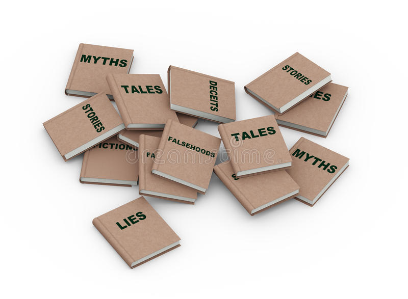 libros de las mentiras del mito 3d ilustración del vector