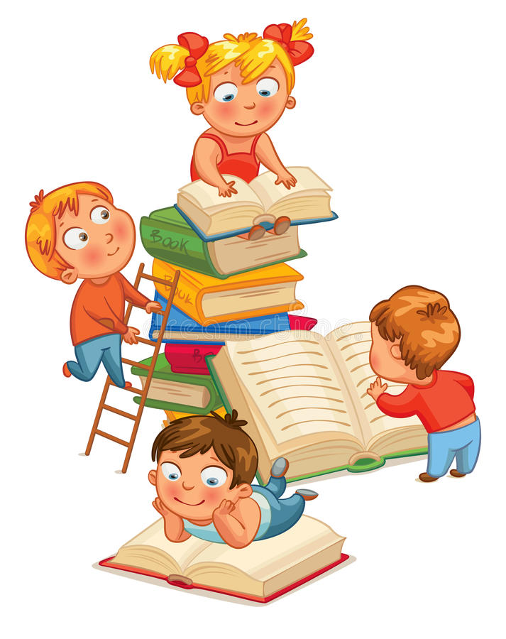 Libros de lectura de los niños en la biblioteca libre illustration