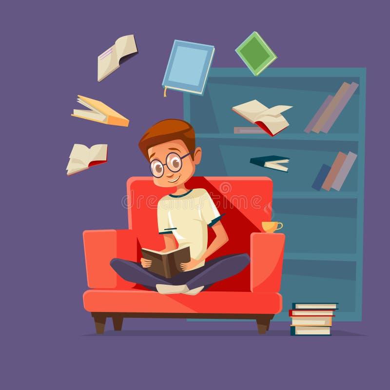 Libros de lectura del estudiante del hombre de la historieta del vector ilustración del vector