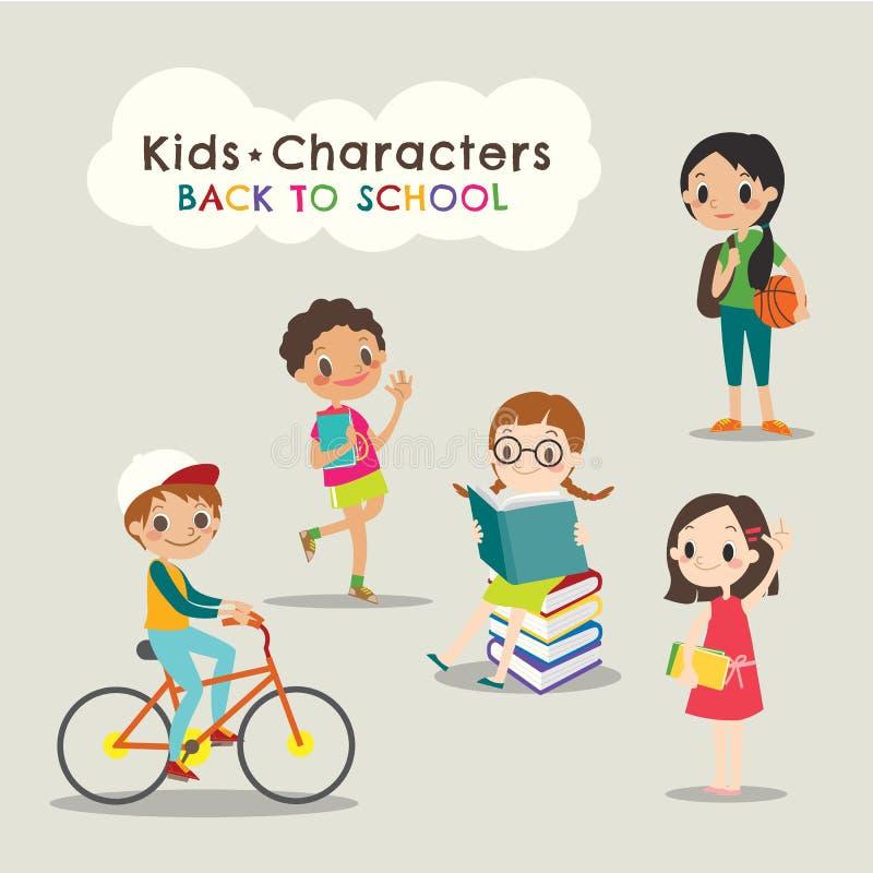Libros de lectura felices de los niños de nuevo a historieta de la escuela stock de ilustración