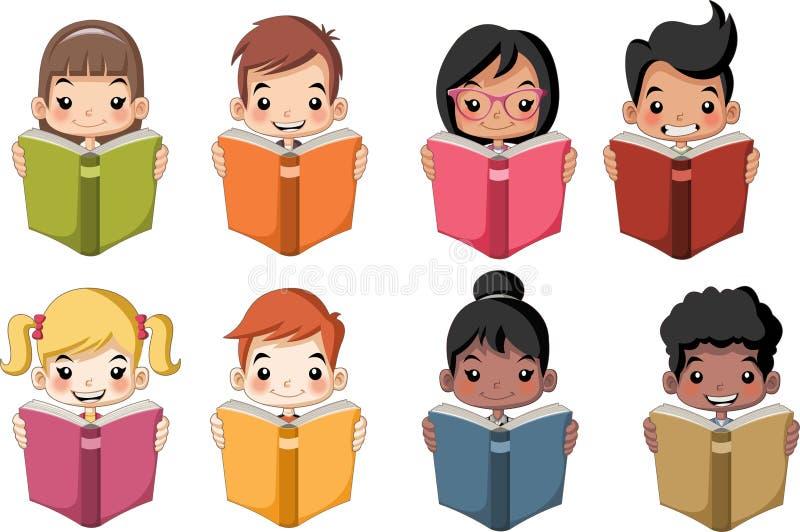 Libros de lectura lindos de los niños de la historieta libre illustration