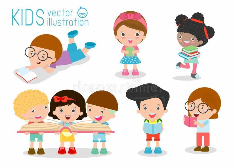 Libros de lectura lindos de los niños, libros de lectura lindos de los niños, niños felices mientras que libros de lectura, niños stock de ilustración