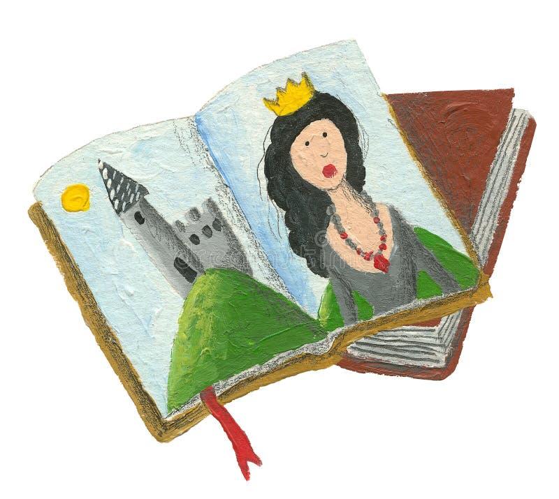 Libros de los cuentos de hadas - princesa y castillo ilustración del vector