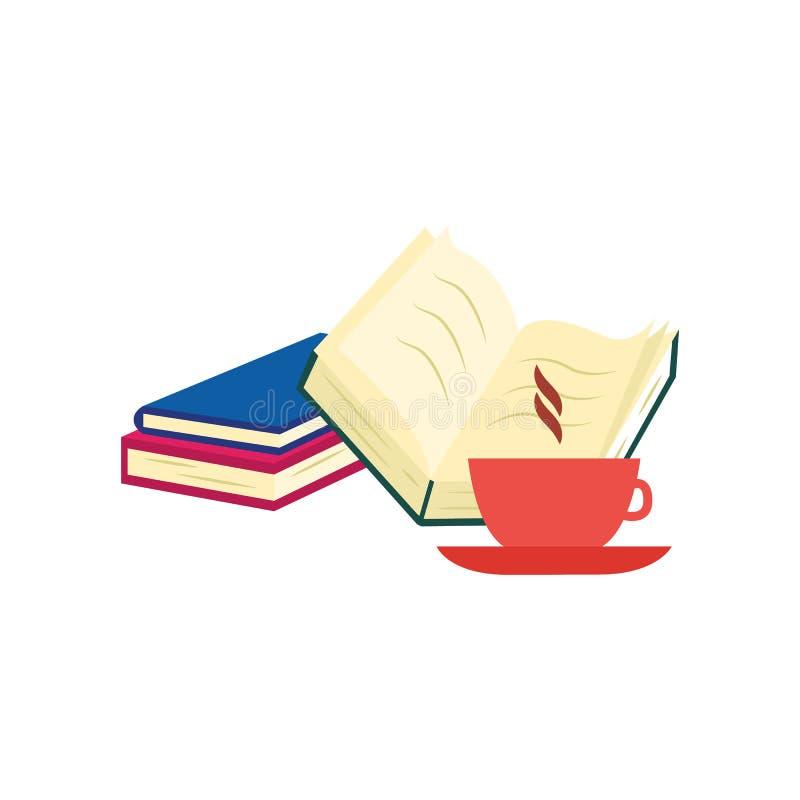 Libros de papel cerrados y abiertos con la cubierta y la taza coloridas de café o de té caliente con vapor libre illustration