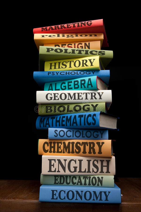 Libros de textos de los libros de estudio de la educación imagen de archivo libre de regalías