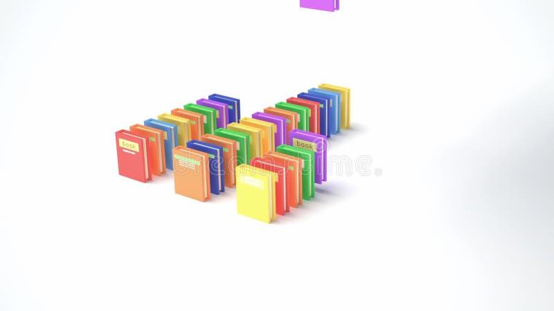 Libros del color que caen y carta de la forma (animación 3d) metrajes