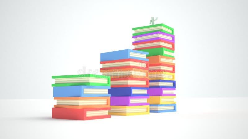 Libros del color y muchacho cúbico fotografía de archivo libre de regalías