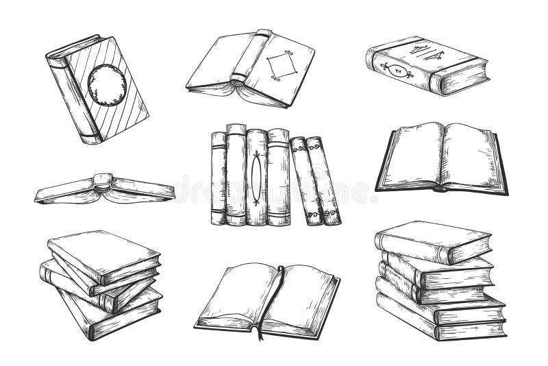 Libros dibujados mano Vintage abierto y libros cerrados del garabato en literatura educativa de la pila y de la pila, de la escue stock de ilustración