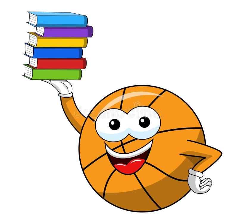 Libros divertidos de la pila del carácter de la historieta de la bola del baloncesto aislados stock de ilustración