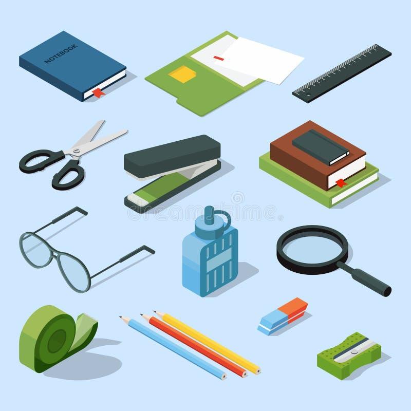 Libros, documentos de papel en carpetas, y otro sistema de elementos inmóvil de la base Mobiliario de oficinas isométrico del vec libre illustration