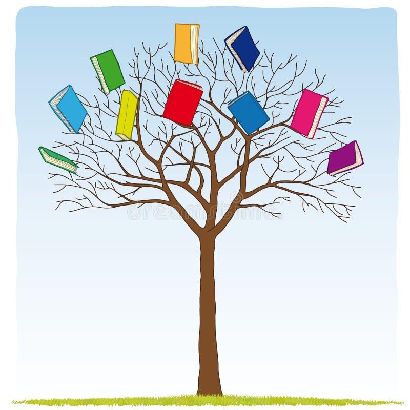 Libros en el árbol stock de ilustración