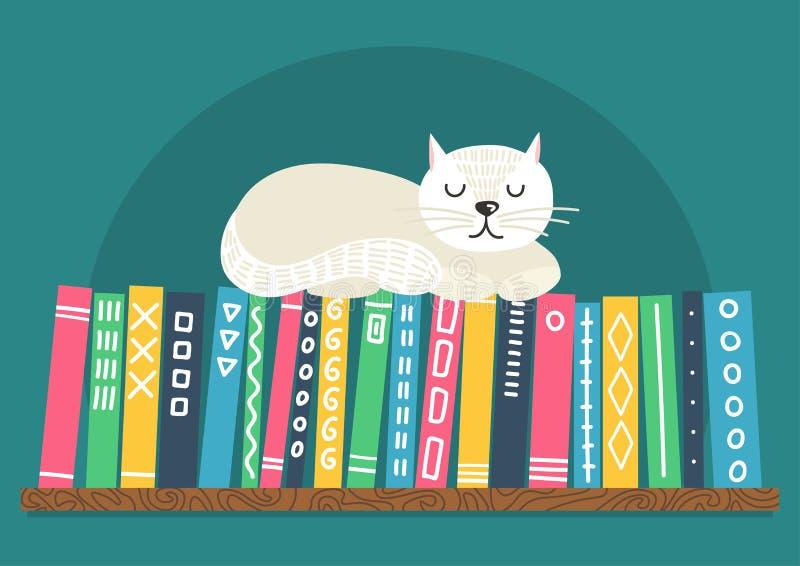 Libros en estante con el gato blanco ilustración del vector