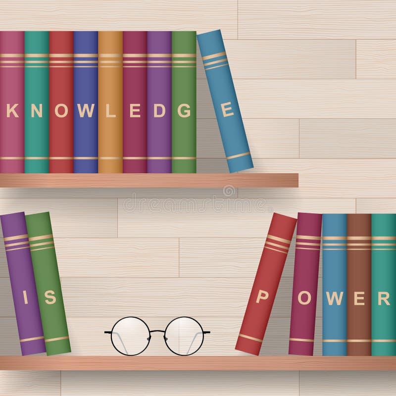 Libros en los estantes ilustración del vector