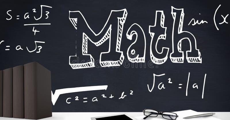 Libros en primero plano del escritorio con los gráficos de la pizarra de la fórmula de la matemáticas stock de ilustración