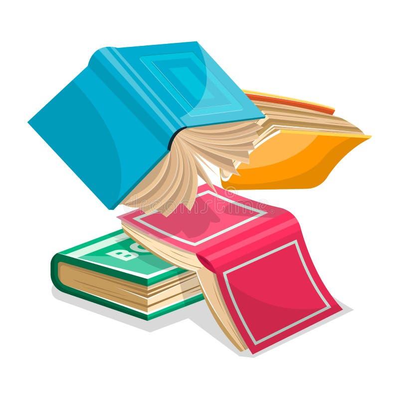 Libros gruesos azules, rosados, verdes, amarillos que caen abajo o el volar El revisar para los exámenes en la escuela ilustración del vector