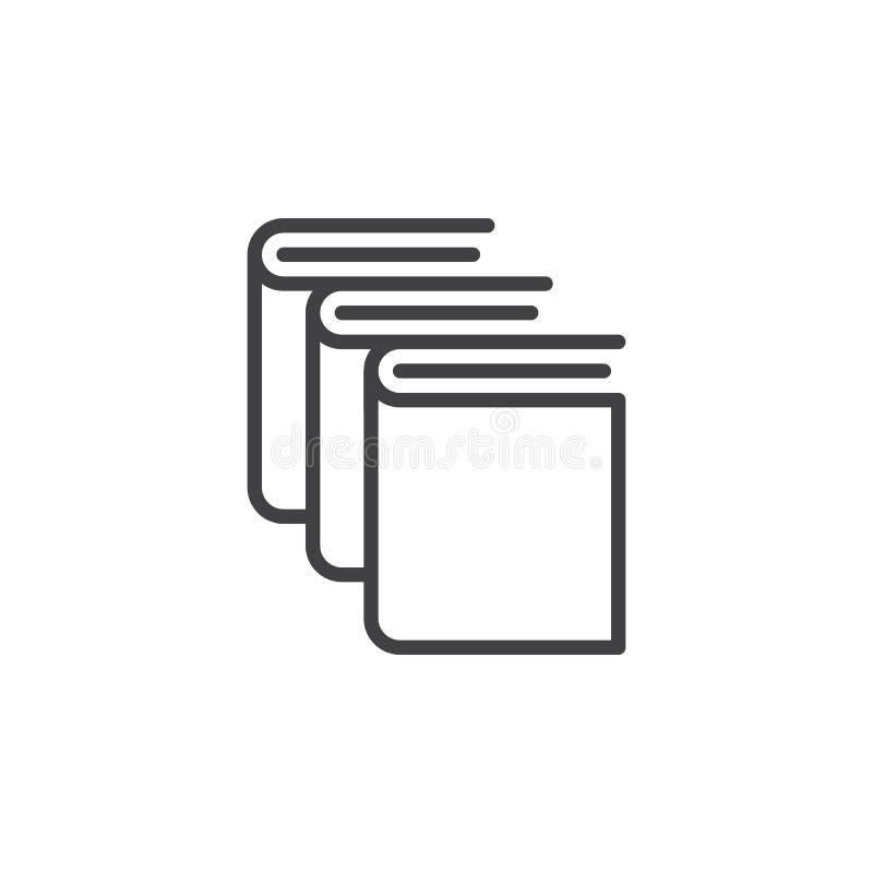 Libros, línea icono, muestra del vector del esquema, pictograma linear de la biblioteca del estilo en blanco stock de ilustración