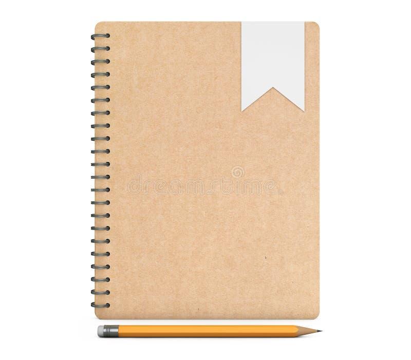 Libros personales del diario o del organizador con el lápiz representación 3d ilustración del vector