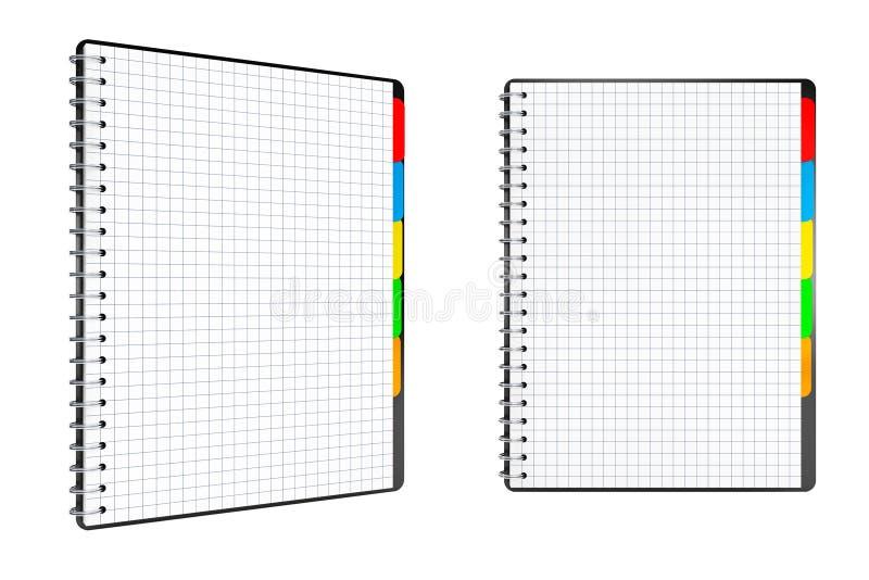 Libros personales del diario o del organizador con las páginas en blanco representación 3d stock de ilustración