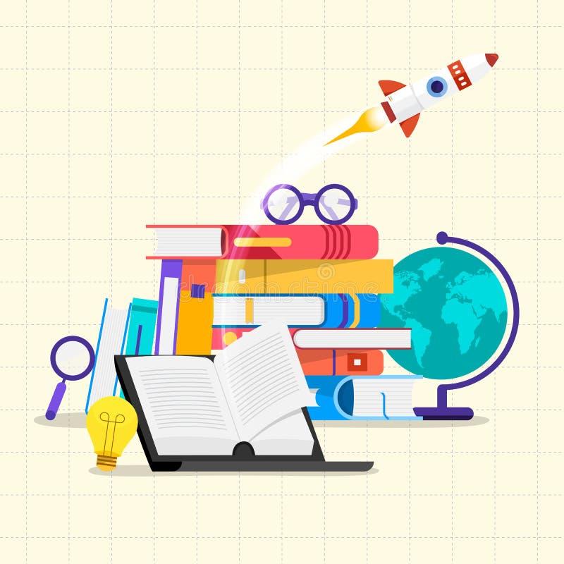 Libros planos del concepto de diseño Educación y aprendizaje con de los libros libre illustration