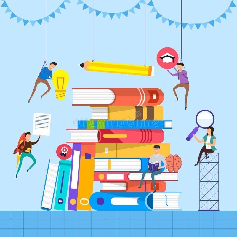 Libros planos del concepto de diseño Educación y aprendizaje con de los libros stock de ilustración