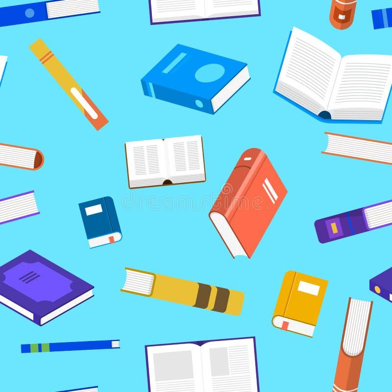Libros planos del concepto de diseño del modelo inconsútil del fondo Vector i libre illustration