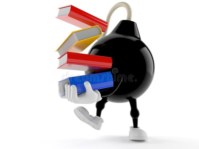 Libros que llevan del carácter de la bomba libre illustration