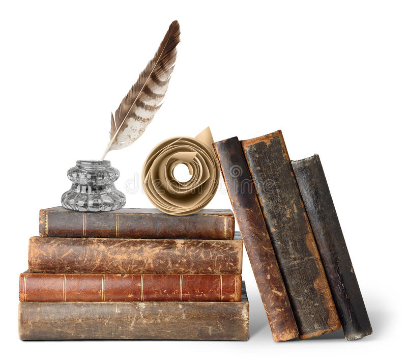 Libros viejos, inkstand y desfile fotografía de archivo