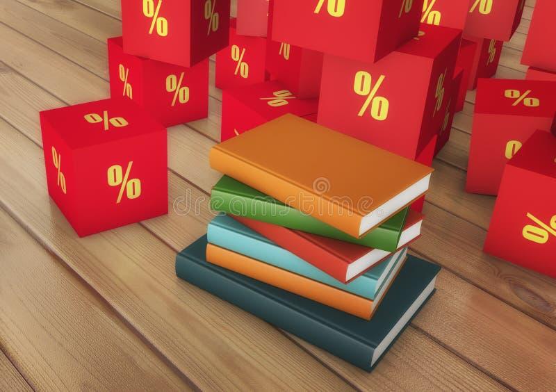 Libros y descuentos stock de ilustración