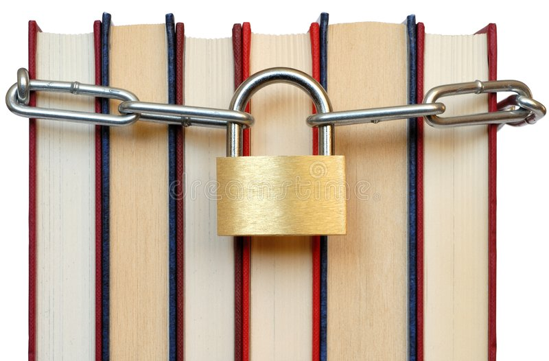 Libros y encadenamiento fotografía de archivo